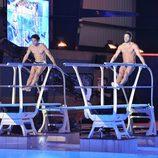 Alessandro Livi y Antonio Rossi preparándose para saltar juntos en '¡Mira quién salta!'