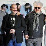 Miguel Ángel Silvestre, Carlos Areces, Pedro Almodóvar y Blanca Suárez con 'Los amantes pasajeros' en Roma