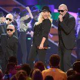 Pitbull y Christina Aguilera durante los Nickelodeon's Kids' Choice Awards 2013
