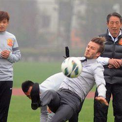 Caída de David Beckham frente a unos estudiantes chinos