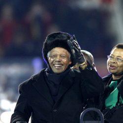 Nelson Mandela y su mujer Graca Machel en el Mundial de Sudáfrica 2010