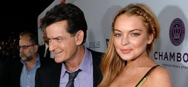 Lindsay Lohan y Charlie Sheen en la premiere de 'Scary Movie 5'