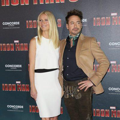 Gwyneth Paltrow y Robert Downey Jr. en la presentación de 'Iron Man 3' en Munich