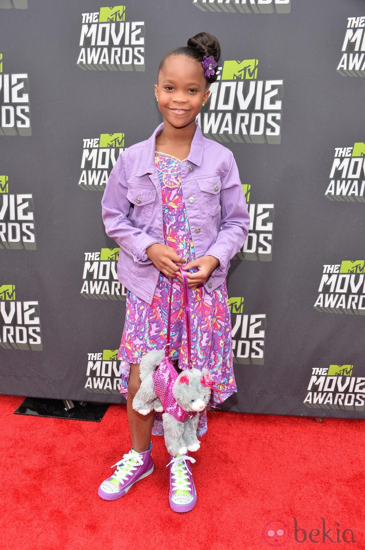 Quvenzhane Wallis en la alfombra roja de los MTV Movie Awards 2013
