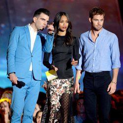 Zachary Quinto, Zoe Saldana y Chris Pine en la gala de los MTV Movie Awards 2013