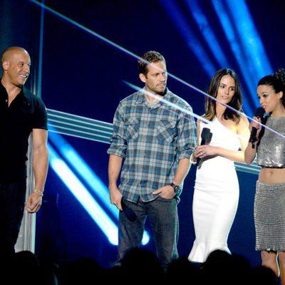 Vin Diesel, Paul Walker, Jordana Brewster y Michelle Rodriguez en la gala de los MTV Movie Awards 2013