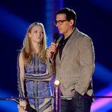 Amanda Seyfried y Steve Carell en la gala de los MTV Movie Awards 2013