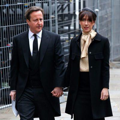 David y Samantha Cameron en el funeral de Margaret Thatcher