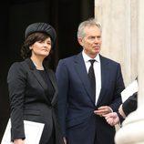Cherie y Tony Blair en el funeral de Margaret Thatcher