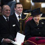 El Duque de Edimburgo y la Reina Isabel en el funeral de Margaret Thatcher