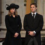 Amanda y Michael Thatcher en el funeral de Margaret Thatcher