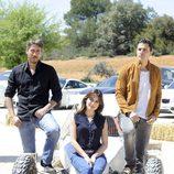 Alberto Ammann, Adriana Ugarte y Álex González en la promoción de 'Combustión'