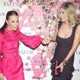 Paula Echevarría y Bibiana Fernández en la fiesta de presentación del perfume 'Rosa'