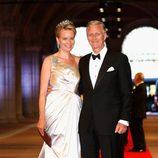 Los principes Felipe y Matilde de Bélgica en la cena previa a la abdicación de la Reina Beatriz de Holanda