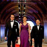 Los príncipes Daniel y Victoria de Suecia y el príncipe Naruhito de Japón en la cena previa a la abdicación de la Reina Beatriz de Holanda