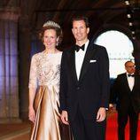 Los príncipes Sofía y Alois de Liechtenstein en la cena previa a la abdicación de la Reina Beatriz de Holanda