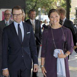Victoria y Daniel de Suecia en su primer acto oficial tras el anuncio del embarazo