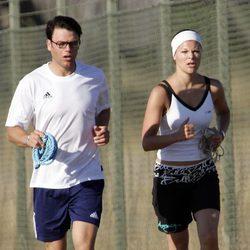 Victoria de Suecia y Daniel Westling hacen ejercicio en 2005