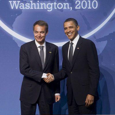 José Luis Rodríguez Zapatero y Barack Obama se saludan en 2010