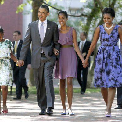 Barack y Michelle Obama y sus hijas Malia y Sasha