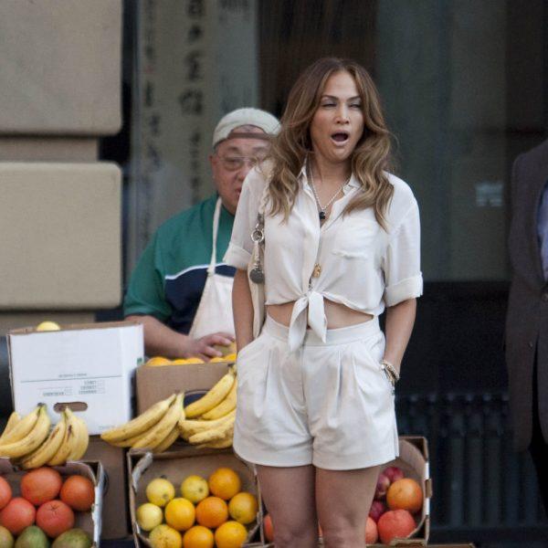 Jennifer Lopez en el rodaje de su nuevo videoclip, 'Papi'