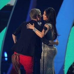 Justin Bieber y Kim Kardashian en la gala de los VMA 2011
