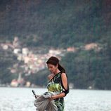 Cindy Crawford tras abandonar un barco en el Lago Como