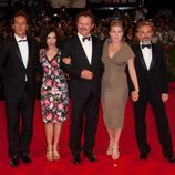 Alexandre Desplat, Yasmina Reza, John C. Reilly, Kate Winslet y Christoph Waltz en la Mostra de Venecia