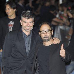 Nacho Guerreros y Jordi Sánchez en la clausura del FesTVal de Vitoria