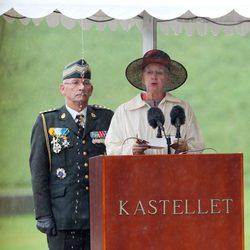 La Reina Margarita de Dinamarca da un discurso en un homenaje a los soldados caídos