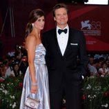 Colin Firth y Livia Giuggioli en el estreno de 'Tinker, Taylor, Soldier, Spy' en la Mostra de Venecia