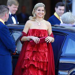 La Princesa Máxima de Holanda a su llegada a la cena previa a la abdicación de la Reina Beatriz de Holanda