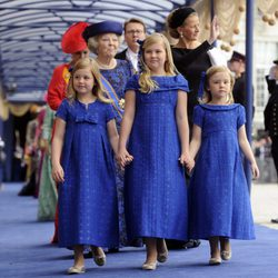 Las Princesas Alexia, Amalia y Ariane tras la investidura de Guillermo Alejandro de Holanda