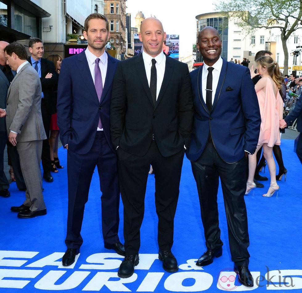 Paul Walker, Vin Diesel y Tyrese Gibson en el estreno mundial de 'Fast&Furious 6' en Londres
