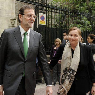 Mariano Rajoy y Elvira Fernández en el funeral de Mercedes de la Merced