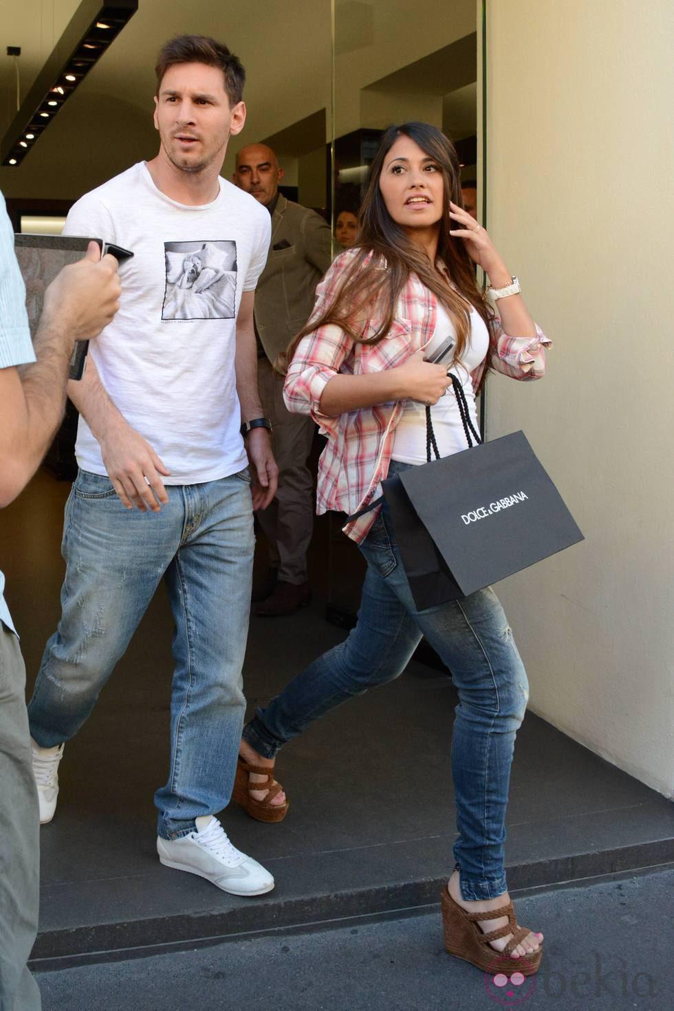 Leo Messi y Antonella Roccuzzo, de compras por Milán - El ...