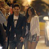 Leo Messi y Antonella Roccuzzo en la cena de celebración del título de Liga del Barça
