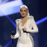 Margaret Berger durante su actuación en el Festival de Eurovisión 2013