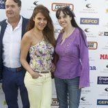 Mónica Hoyos y Beatriz Rico en una partido benéfico de pádel en Madrid