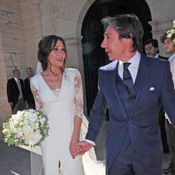 Cristina Sainz e Israel Bayon tras contraer matrimonio en Vegas de Matute