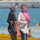 Hiba Abouk en la grabación de 'El Príncipe' en Ceuta