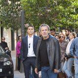 Álex González y José Coronado en la grabación de 'El Príncipe' en Madrid
