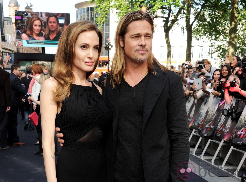 Angelina Jolie y Brad Pitt en la premiere de 'Guerra Mundial Z' en Londres