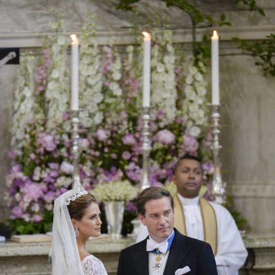 Chris O'Neill y la Princesa Magdalena de Suecia antes del inicio de su boda
