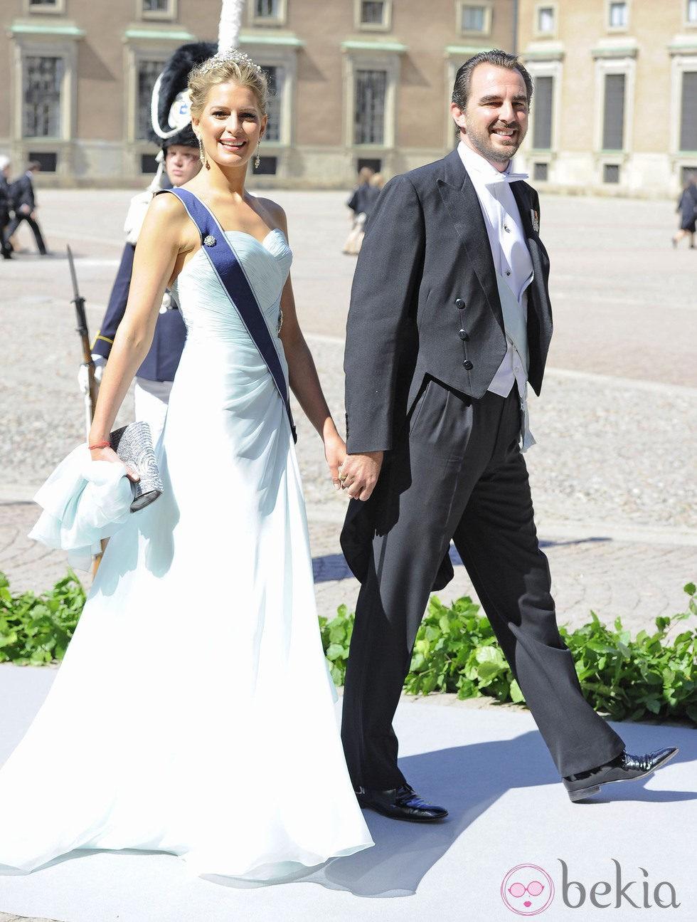 Los Príncipes Nicolás y Tatiana de Grecia en la boda de Magdalena de Suecia y Chris O'Neill