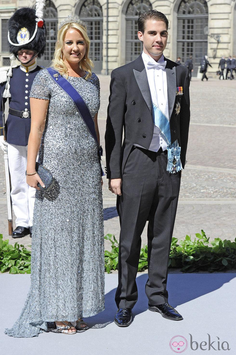 Los Príncipes Felipe y Theodora de Grecia en la boda de Magdalena de Suecia y Chris O'Neill