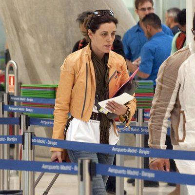 Raquel Sánchez Silva en el aeropuerto de Madrid rumbo a Ibiza