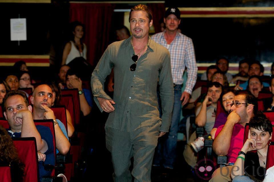 Brad Pitt en la presentación sorpresa de 'Guerra Mundial Z' en Madrid