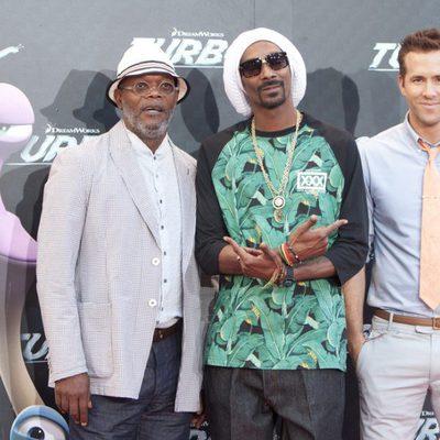 Samuel L. Jackson, Snoop Dogg y Ryan Reynolds en la presentación de 'Turbo' en Barcelona