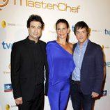 Pepe Rodríguez, Samantha Vallejo-Nájera y Jordi Cruz durante la final del programa 'Masterchef' en Madrid